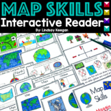 Map Skills Interactive Reader- Maps, Globes, Cardinal Directions and More!