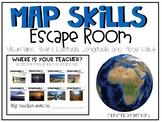 Map Skills Latitude and Longitude Escape Room