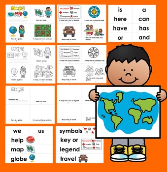 Map Skills Readers - Differentiate!  3 Reading Levels + Illustrated Word Wall