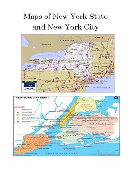 Map Skills: New York City and New York State Worksheet (or Test) with Answer Key