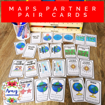 Map Skills Partner Pair Cards with Engagement Questions