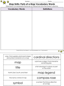Map Skills: Parts of a Map Vocabulary Words Cut and Paste Activity - King Virtue