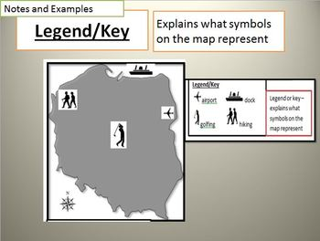 Map Skills Powerpoint with notes, 30 examples, game, including scale, key
