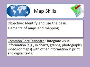 Map Skills Powerpoint with notes, 30 examples, game, inclu