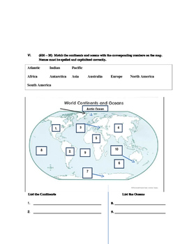 Map Skills Quiz - longitude, latitude, hemispheres, parts of a map