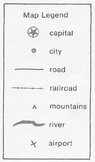 Map Skills: Reading Jamaica Island Map & Legend to answer 14 Multiple Choice Qs