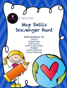 NO PREP! Map Skills Scavenger Hunt: Continents, Types of Maps, Finding Location