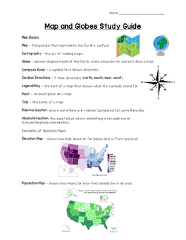 FULL COLOR Map Skills Study Guide!
