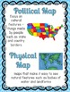 Map Skills Game, Reading Passages with Questions, and Posters