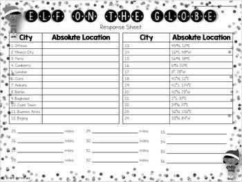 Elf on the Globe: Map Skills Task Cards
