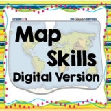 Map Skills Task Cards and Quiz | Digital Version | Distanc