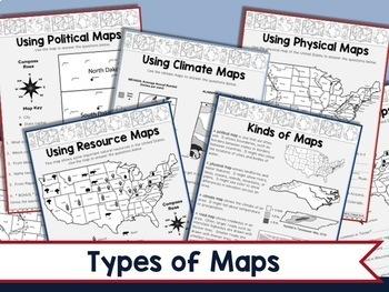 Map Skills 3rd Grade Types Of Maps Intermediate