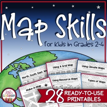 Map Skills 3rd Grade: Types of Maps-Intermediate & Cardinal ...