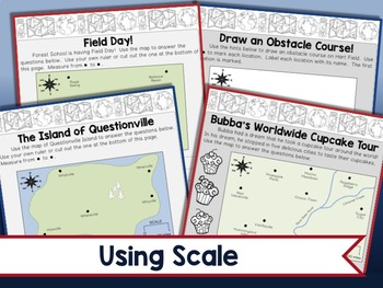 Map Skills Worksheets - Types of Maps, Cardinal Directions, Scale, Reading Maps