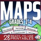Map Skills 3rd Grade: Types of Maps-Intermediate & Cardina