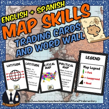 Map Skills Trading Card Activities and Word Wall Posters