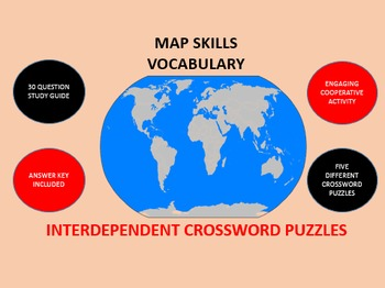 Map Skills Vocabulary: Interdependent Crossword Puzzles Activity
