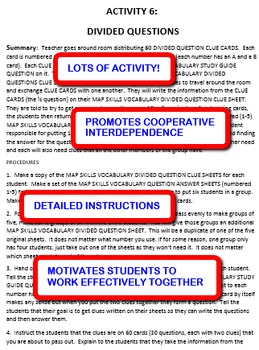Map Skills Vocabulary: Interdependent Divided Questions Activity