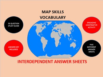 Map Skills Vocabulary: Interdependent Answer Sheets Activity