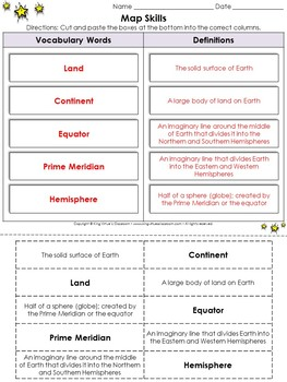 Map Skills: Vocabulary Words Cut and Paste Activity #2 - King Virtue's Classroom