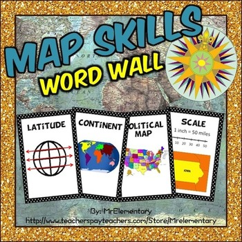 Maps Skills Vocabulary Word Wall Posters