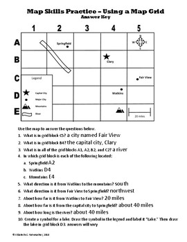 map skills worksheet using a grid by arts and smarts inc tpt. Black Bedroom Furniture Sets. Home Design Ideas