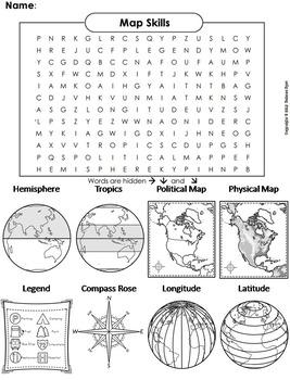 Map Skills Worksheet (Word Search/ Coloring Sheet)
