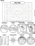 Map Skills Activity: Word Search Worksheet