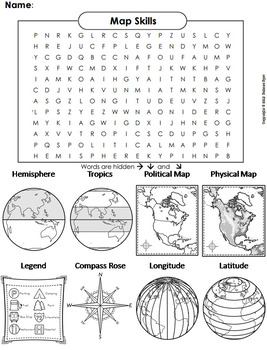 Map Skills Worksheet (Word Search/ Coloring Sheet)