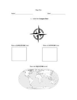 Map Skills and Geographical Terms Assessment for Special Education