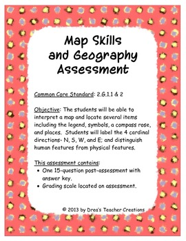 Map Skills and Geography Assessment