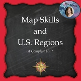 Map Skills and U.S. Regions Unit - Now Printable and Dista