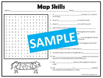 Map Skills and the Five Themes of Geography Puzzles
