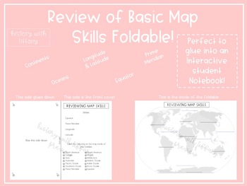 Map Skills review foldable (Interactive student Notebook friendly!)