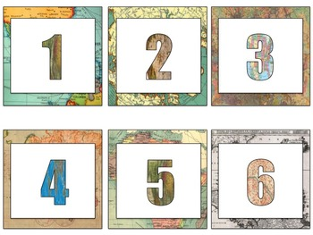 Map Theme Calendar Kit, Daily Schedule, and Table Tents