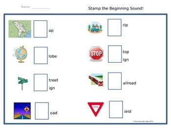 Map Themed:  Stamp the Beginning Sound