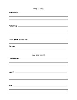 Map Types and Components Worksheet