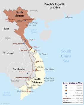 Dien Bien Phu Vietnam Map.Map Vietnam War Major Battles By Past Is Prologue Tpt