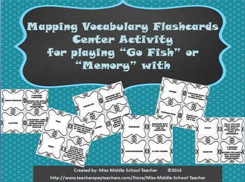 Mapping Vocabulary Center Activity for playing 'Go Fish' or 'Memory'
