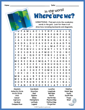 Search World Map.Map Vocabulary Word Search Puzzle By Puzzles To Print Tpt