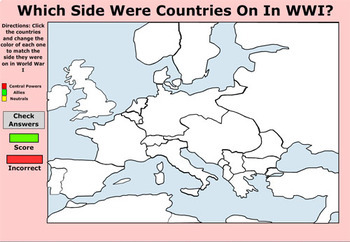 Map - Which Side Were Countries On In World War I - Bill Burton