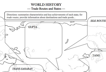 Map Worksheet: Empires and Trade Routes (c. 500-1000 CE)