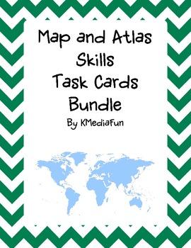 Map and Atlas Skills Task Card Bundle by KMediaFun