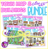 Town Map and Buildings clip art bundle