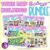 Town Map and Buildings clip art bundle