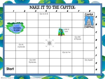 Map and Cardinal Directions Game: Make it to the Capitol