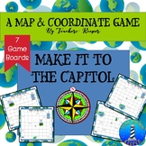 Map and Cardinal Directions Game: Make it to the Capitol (