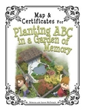 Map and Certificates of Achievement for Planting ABC in a Garden of Memory