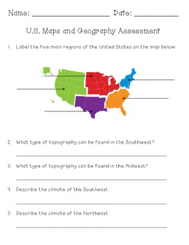 Map and Geography Assessment