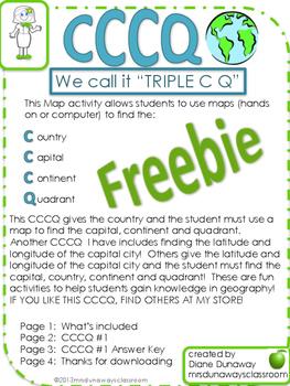 FREEBIE Map and Globe Skills CCCQ #1